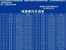 稻城县公安局交通警察大队 关于车辆摩托车报废的公告